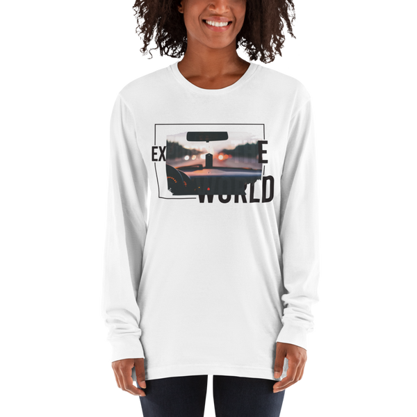Explore The world017 American Apparel 2007 Unisex Fine Jersey Long Sleeve T-Shirt Comfy style