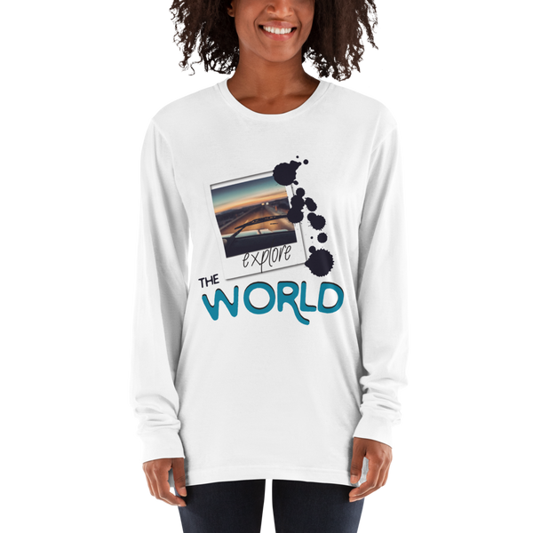 Explore The world025 American Apparel 2007 Unisex Fine Jersey Long Sleeve T-Shirt Comfy style