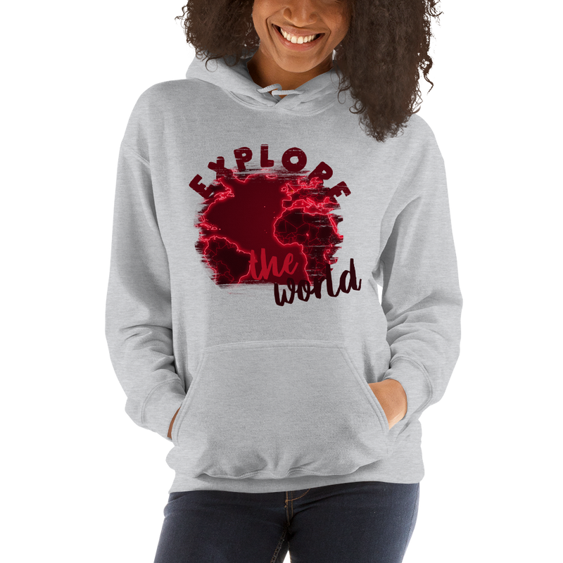 Explore The World0016 Gildan 18500 Unisex Heavy Blend Hooded Sweatshirt