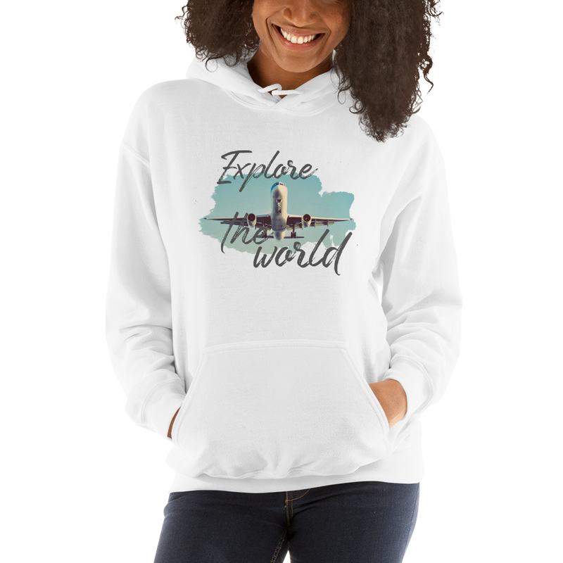 Explore The World001 Gildan 18500 Unisex Heavy Blend Hooded Sweatshirt