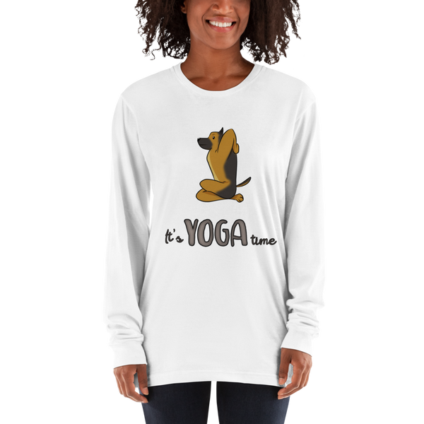 It's Yoga Time020 American Apparel 2007 Unisex Fine Jersey Long Sleeve T-Shirt Comfy style