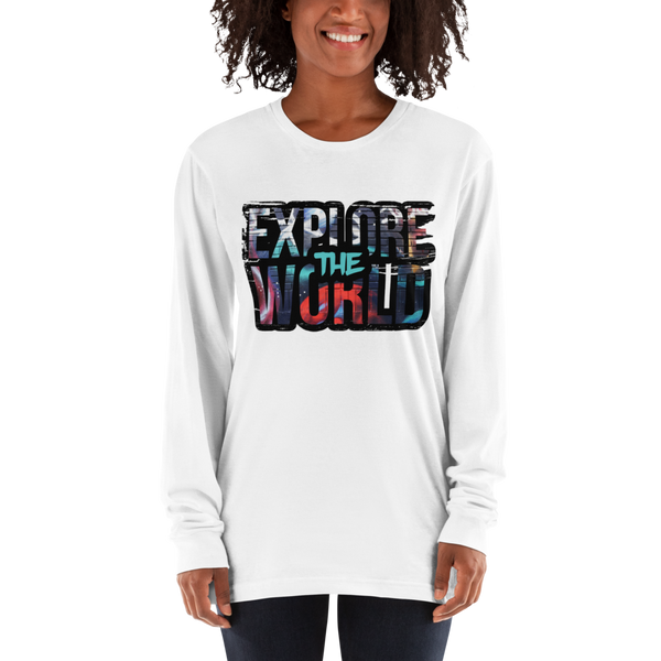 Explore The world022 American Apparel 2007 Unisex Fine Jersey Long Sleeve T-Shirt Comfy style