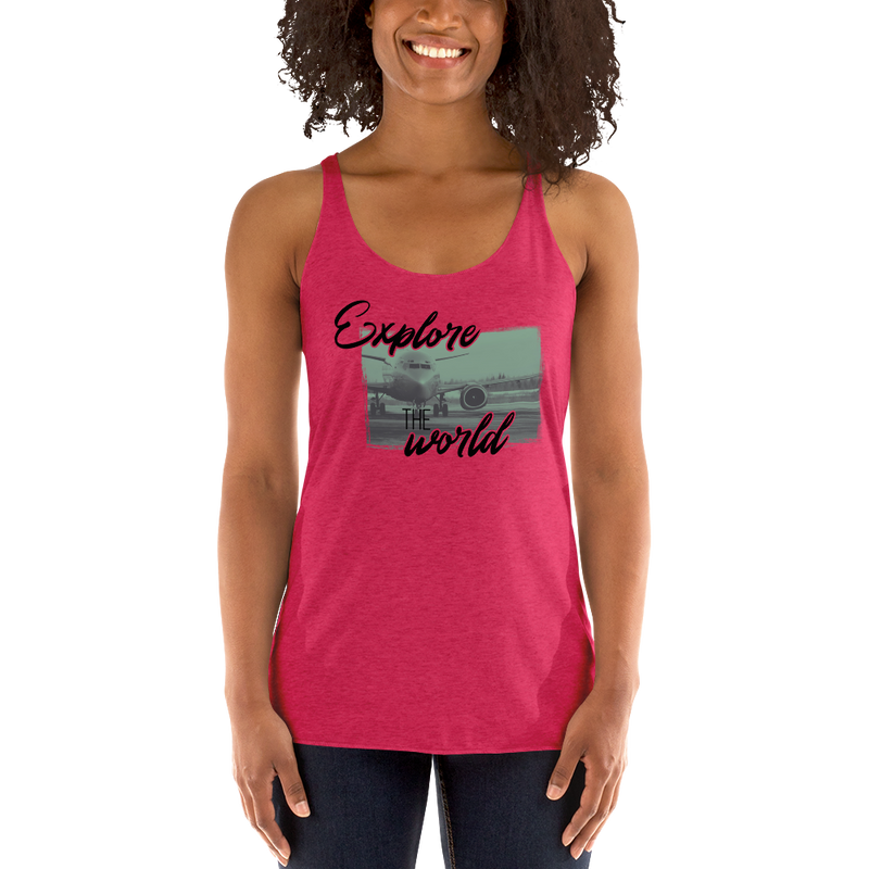Explore The World0013 Next Level 6733 Ladies' Triblend Racerback Tank
