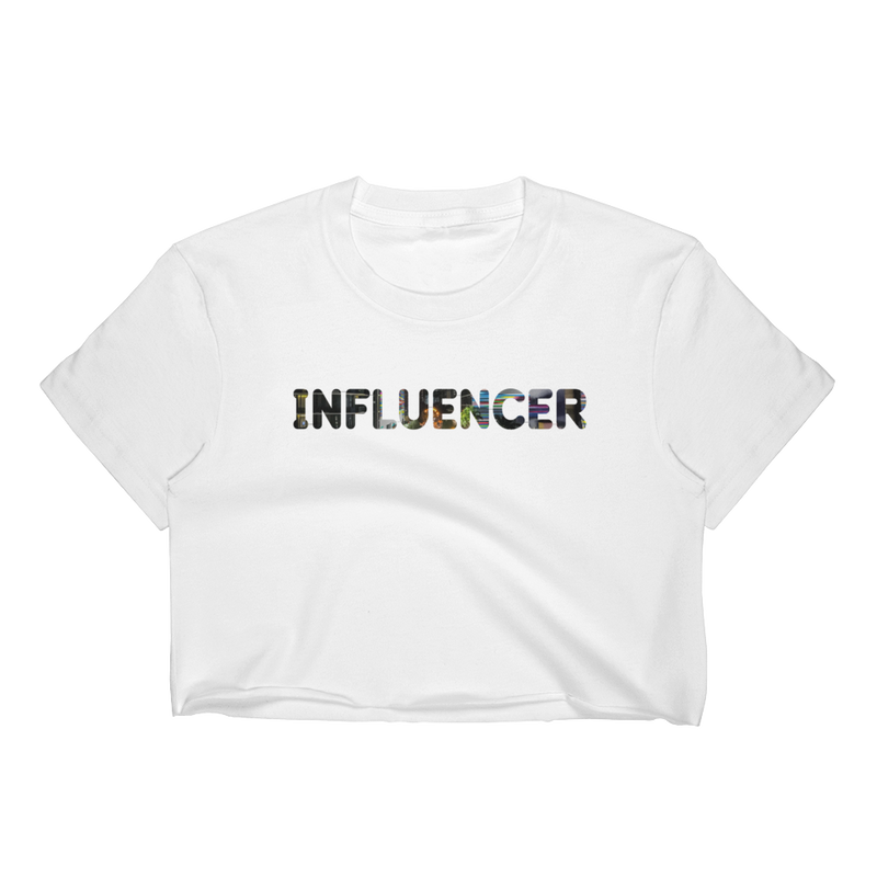 Influencer003 Los Angeles Apparel 2332 Fine Jersey Short Sleeve Cropped T-Shirt w/ Tear Away Label