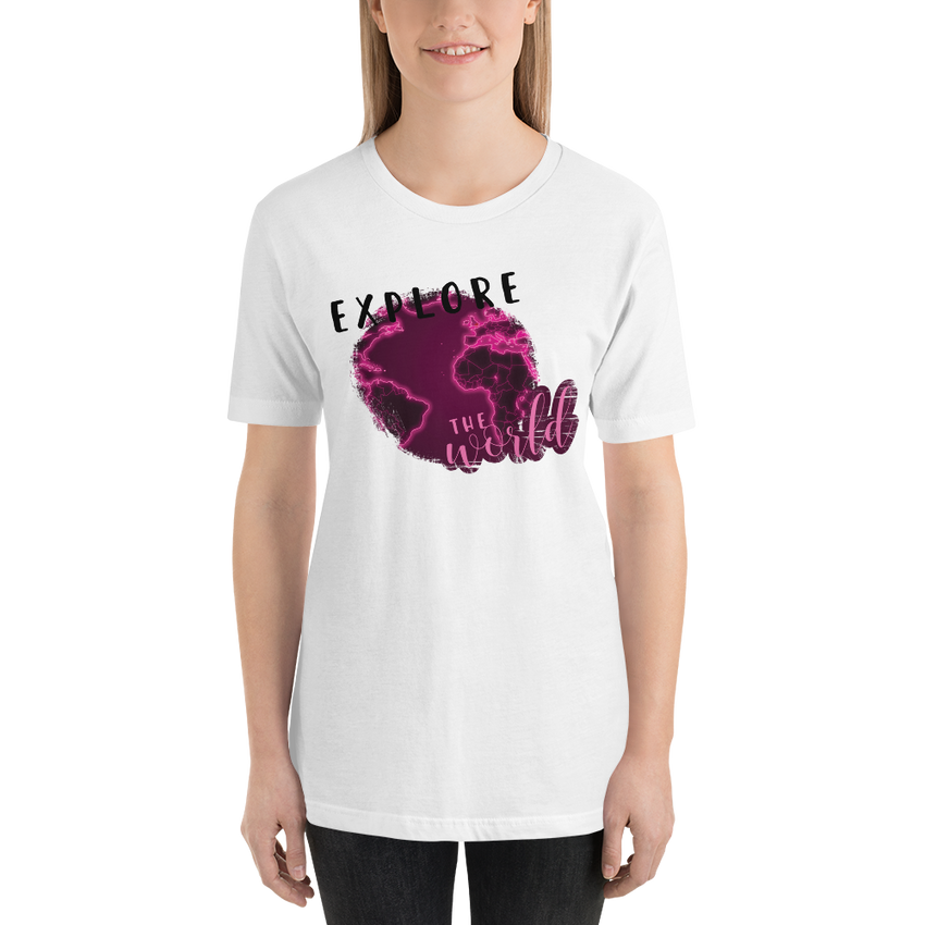 Explore The World0027 Bella + Canvas 3001 Unisex Short Sleeve Jersey T-Shirt with Tear Away Label