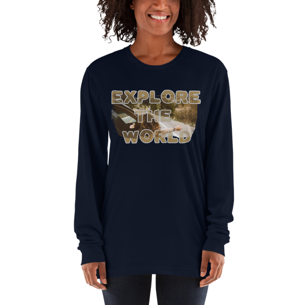 Explore The world008 American Apparel 2007 Unisex Fine Jersey Long Sleeve T-Shirt Comfy style