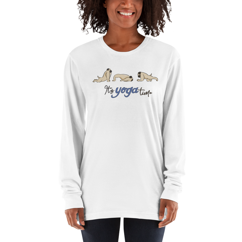 It's Yoga Time046 American Apparel 2007 Unisex Fine Jersey Long Sleeve T-Shirt Comfy style