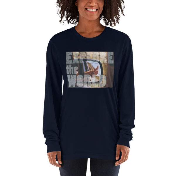 Explore The world020 American Apparel 2007 Unisex Fine Jersey Long Sleeve T-Shirt Comfy style
