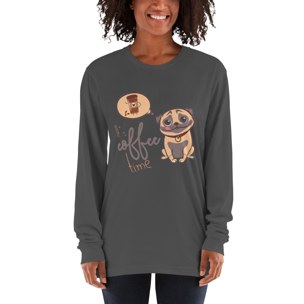 Its Coffee Time38 American Apparel 2007 Unisex Fine Jersey Long Sleeve T-Shirt Comfy style