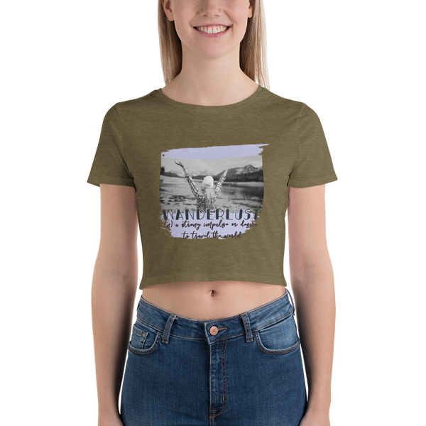 Wanderlust37 Bella + Canvas 6681 Women's Crop Tee Tight fit
