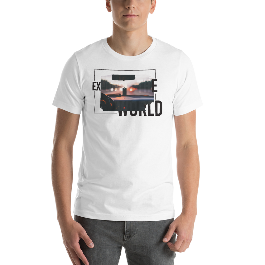 Explore The World0017 Bella + Canvas 3001 Unisex Short Sleeve Jersey T-Shirt with Tear Away Label