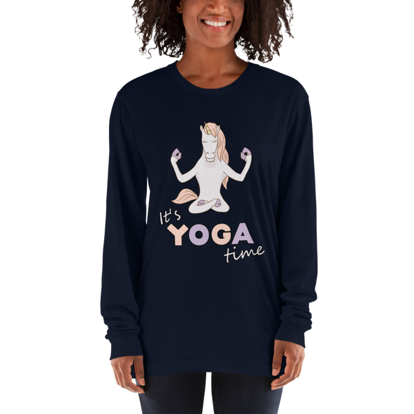 It's Yoga Time050 American Apparel 2007 Unisex Fine Jersey Long Sleeve T-Shirt Comfy style