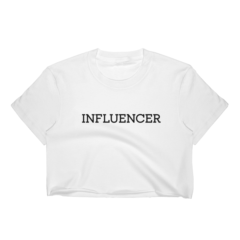 Influencer004 Los Angeles Apparel 2332 Fine Jersey Short Sleeve Cropped T-Shirt w/ Tear Away Label