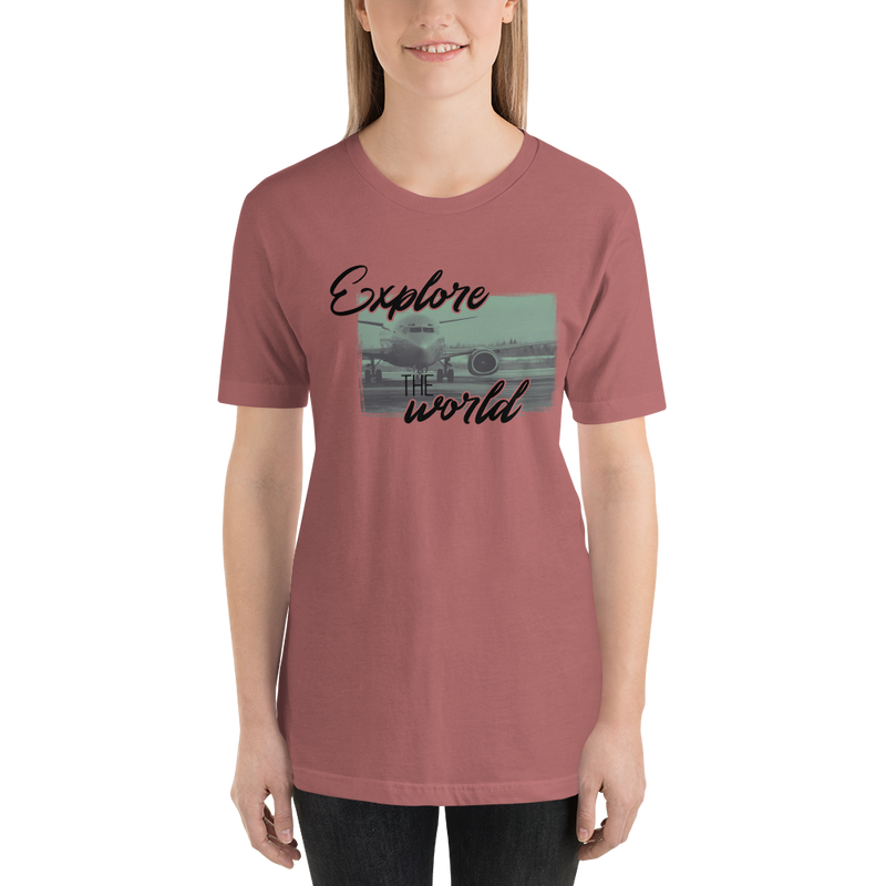 Explore The World0013 Bella + Canvas 3001 Unisex Short Sleeve Jersey T-Shirt with Tear Away Label
