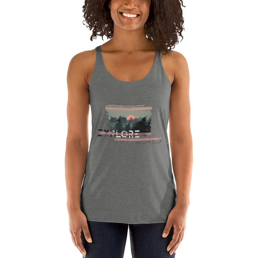 Explore The World0024 Next Level 6733 Ladies' Triblend Racerback Tank