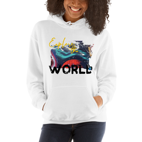 Explore The World0019 Gildan 18500 Unisex Heavy Blend Hooded Sweatshirt