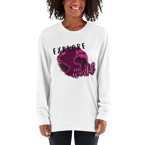Explore The world027 American Apparel 2007 Unisex Fine Jersey Long Sleeve T-Shirt Comfy style