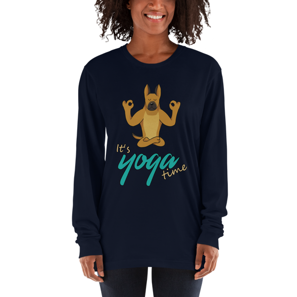 It's Yoga Time037 American Apparel 2007 Unisex Fine Jersey Long Sleeve T-Shirt Comfy style