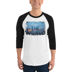 Explore The world0028 3/4 Sleeve Tultex 245 Unisex Fine Jersey Raglan Tee w/ Tear Away Label