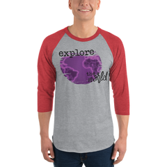 Explore The world0029 3/4 Sleeve Tultex 245 Unisex Fine Jersey Raglan Tee w/ Tear Away Label