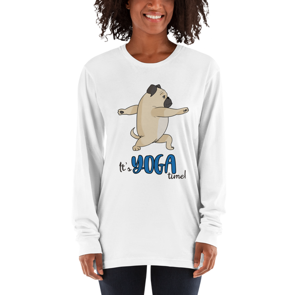It's Yoga Time023 American Apparel 2007 Unisex Fine Jersey Long Sleeve T-Shirt Comfy style