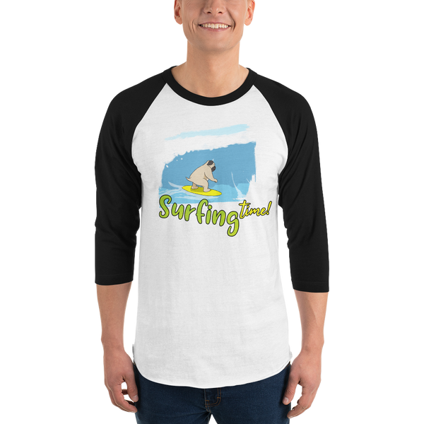 It's Surfing Time02 Tultex 245 Unisex Fine Jersey Raglan Tee w/ Tear Away Label