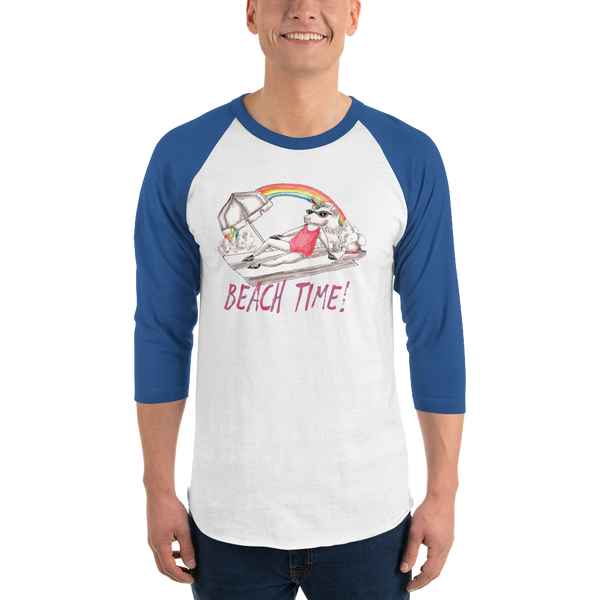 It's Beach Time03 Tultex 245 Unisex Fine Jersey Raglan Tee w/ Tear Away Label