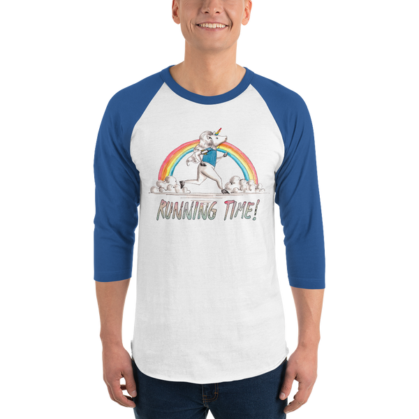 It's Running Time01 Tultex 245 Unisex Fine Jersey Raglan Tee w/ Tear Away Label