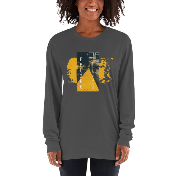 Explore The world023 American Apparel 2007 Unisex Fine Jersey Long Sleeve T-Shirt Comfy style