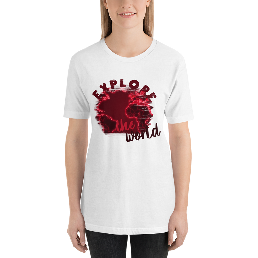 Explore The World0016 Bella + Canvas 3001 Unisex Short Sleeve Jersey T-Shirt with Tear Away Label