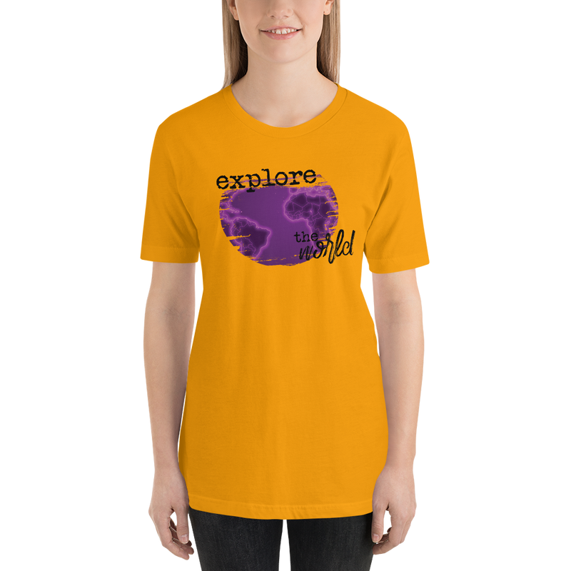 Explore The World0029 Bella + Canvas 3001 Unisex Short Sleeve Jersey T-Shirt with Tear Away Label