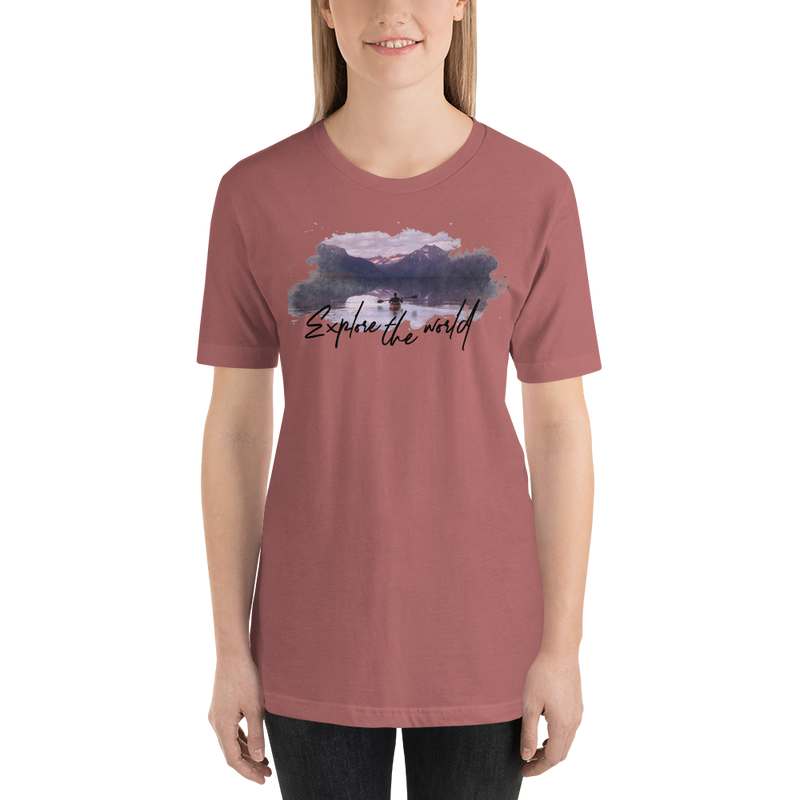 Explore The World001 Bella + Canvas 3001 Unisex Short Sleeve Jersey T-Shirt with Tear Away Label