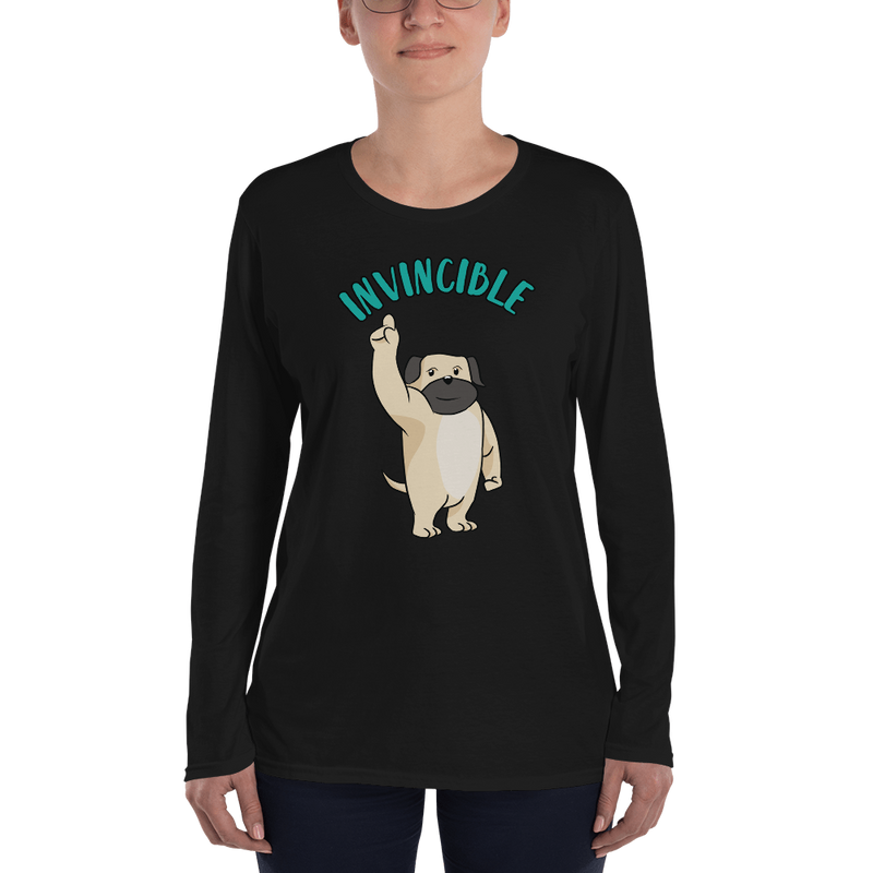 Invincible001 Anvil 884L Women's Lightweight Long Sleeve Tee with Tear Away Label