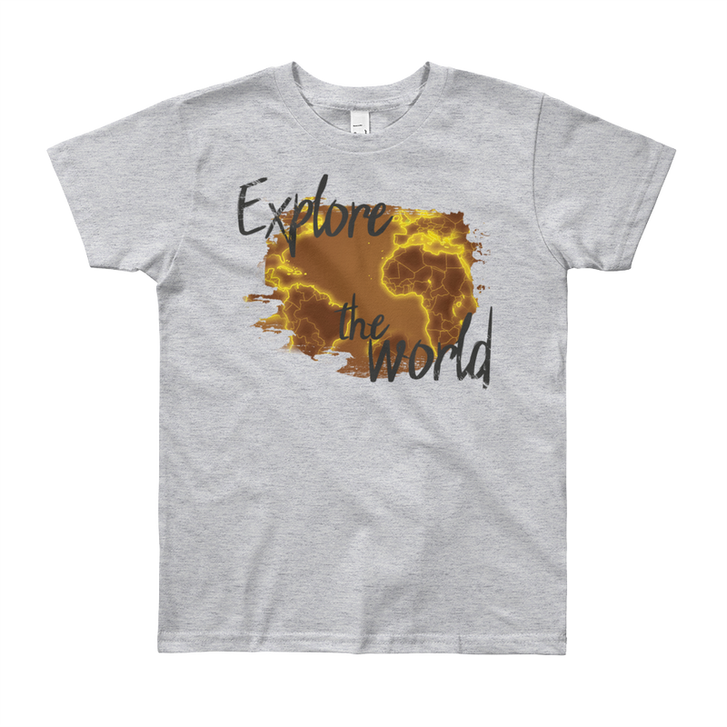 Explore The World0018 American Apparel 2201W Youth Fine Jersey Short Sleeve T-Shirt