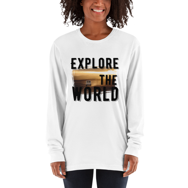 Explore The world009 American Apparel 2007 Unisex Fine Jersey Long Sleeve T-Shirt Comfy style