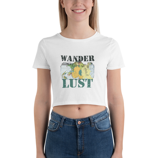 Wanderlust100 Bella + Canvas 6681 Women's Crop Tee Tight fit