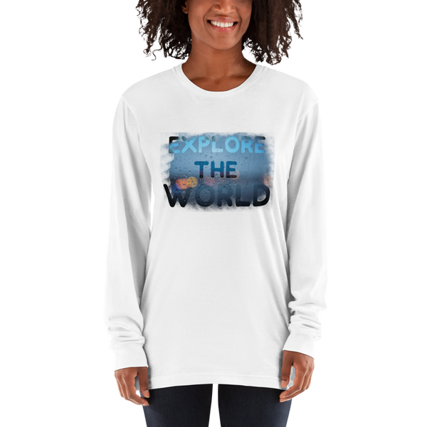 Explore The world028 American Apparel 2007 Unisex Fine Jersey Long Sleeve T-Shirt Comfy style