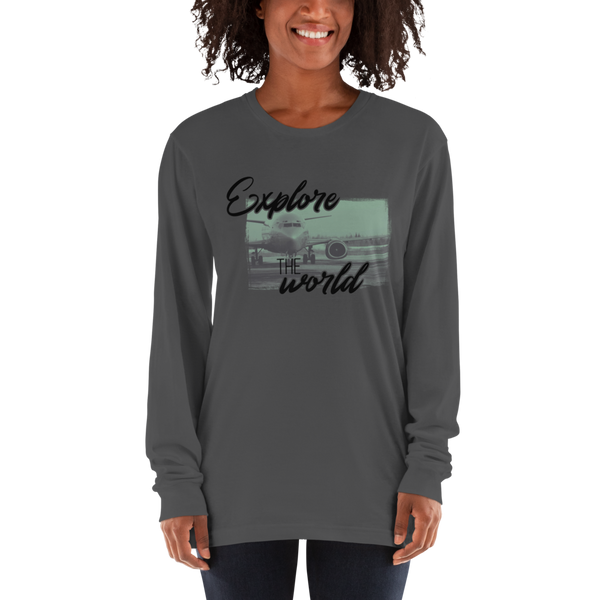 Explore The world013 American Apparel 2007 Unisex Fine Jersey Long Sleeve T-Shirt Comfy style