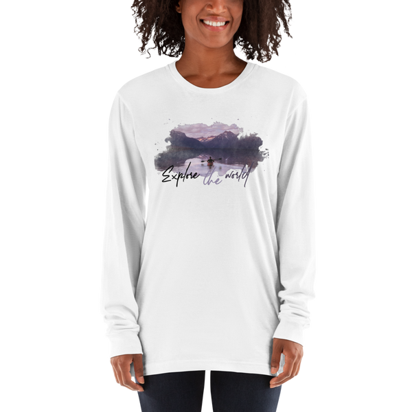 Explore The world004 American Apparel 2007 Unisex Fine Jersey Long Sleeve T-Shirt Comfy style