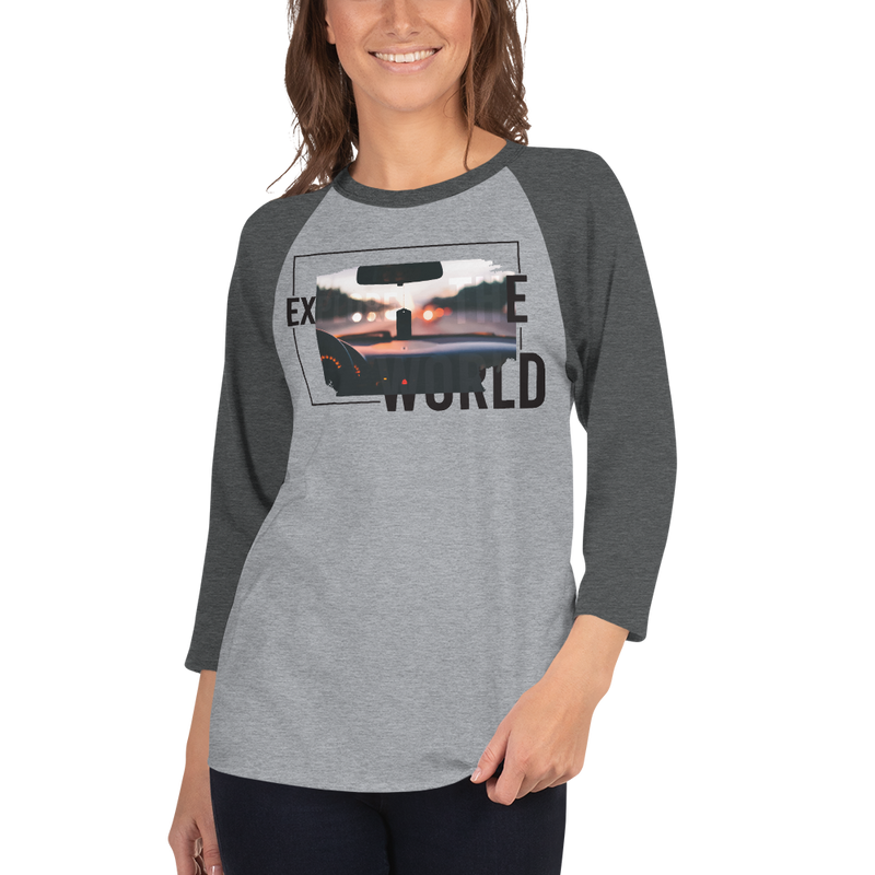 Explore The World0017 3/4 Sleeve Tultex 245 Unisex Fine Jersey Raglan Tee w/ Tear Away Label