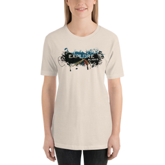 Explore The world007 Bella + Canvas 3001 Unisex Short Sleeve Jersey T-Shirt with Tear Away Label