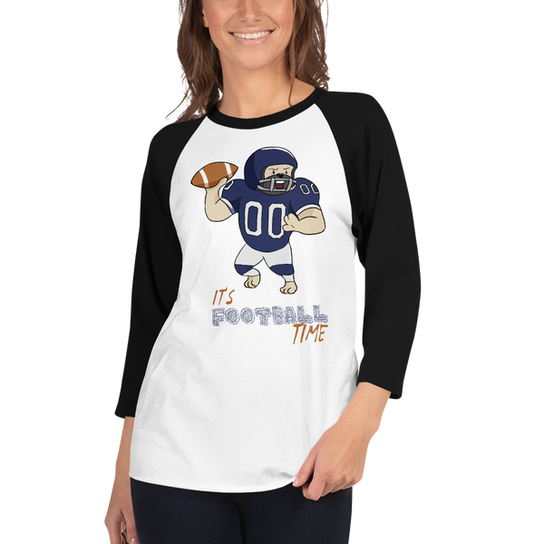 It's Football Time06 Tultex 245 Unisex Fine Jersey Raglan Tee w/ Tear Away Label