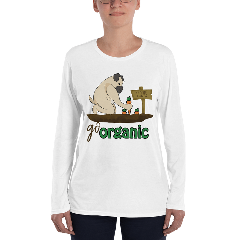 Go Organic003 Anvil 884L Women's Lightweight Long Sleeve Tee with Tear Away Label