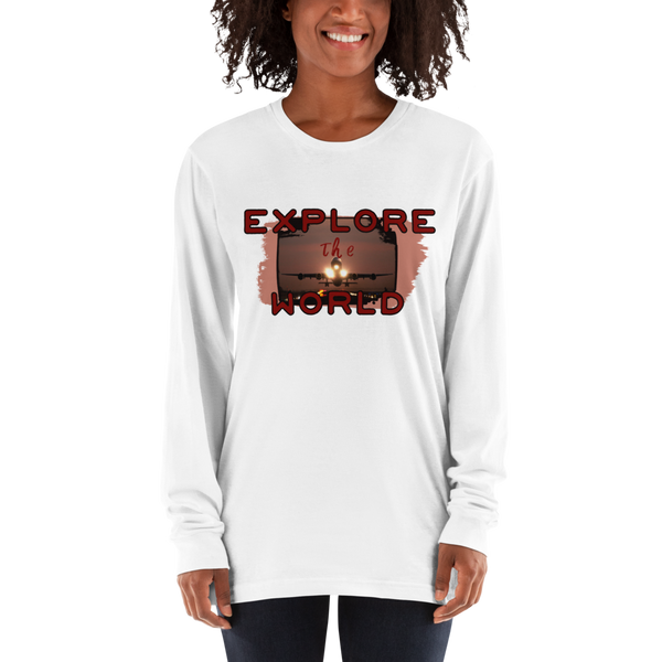 Explore The world014 American Apparel 2007 Unisex Fine Jersey Long Sleeve T-Shirt Comfy style