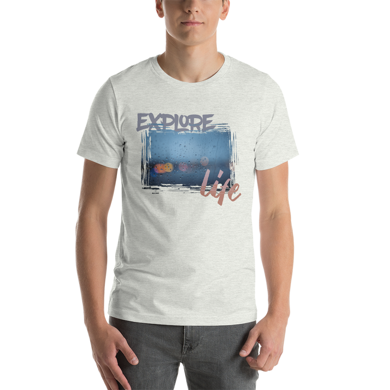Explore life001 Bella + Canvas 3001 Unisex Short Sleeve Jersey T-Shirt with Tear Away Label