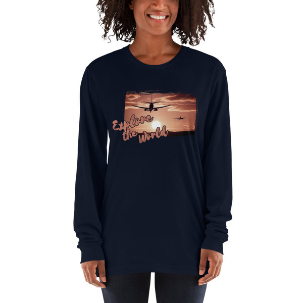 Explore The world012 American Apparel 2007 Unisex Fine Jersey Long Sleeve T-Shirt Comfy style