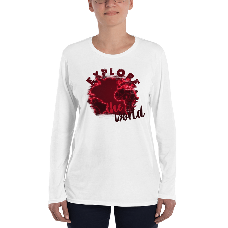 Explore The World0016 Long Sleeve Anvil 884L Women's Lightweight Long Sleeve Tee with Tear Away Label