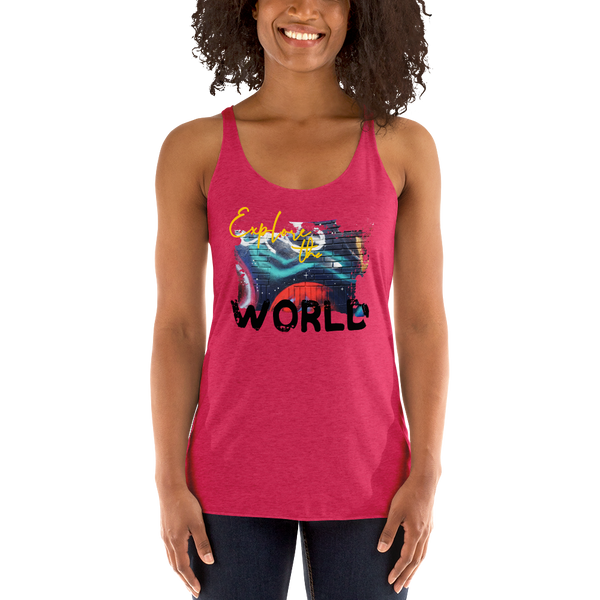 Explore The World0019 Next Level 6733 Ladies' Triblend Racerback Tank