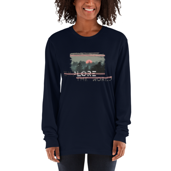 Explore The world024 American Apparel 2007 Unisex Fine Jersey Long Sleeve T-Shirt Comfy style