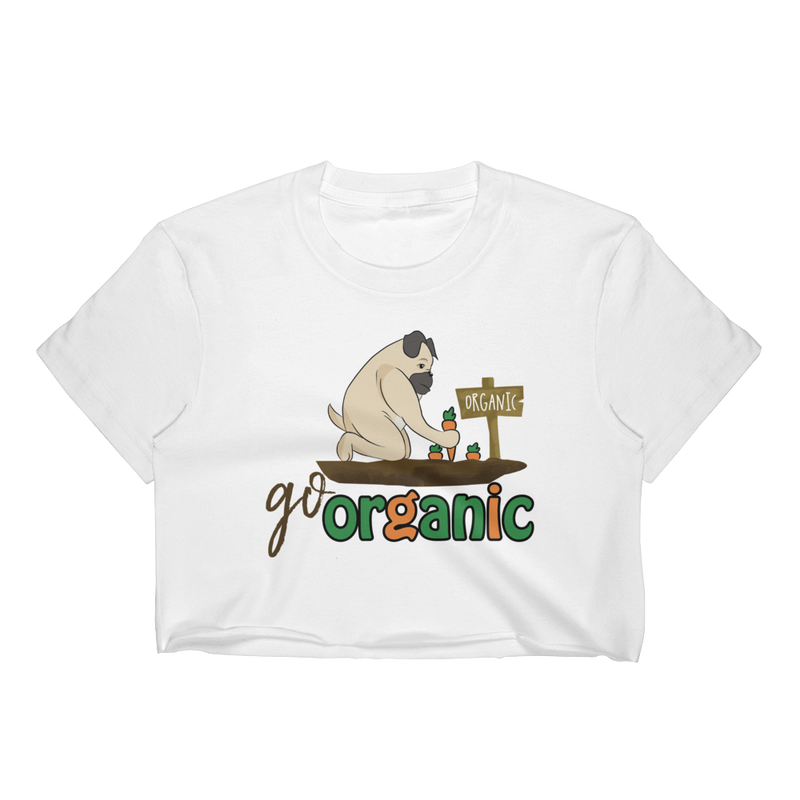 Go Organic001 Los Angeles Apparel 2332 Fine Jersey Short Sleeve Cropped T-Shirt w/ Tear Away Label